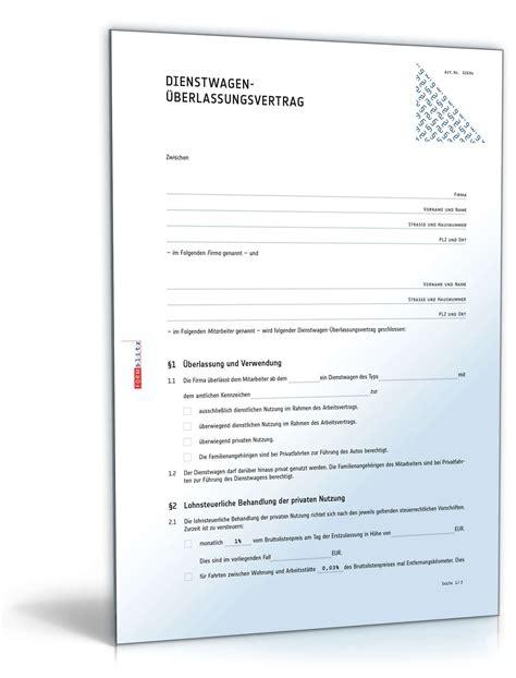 dienstwagen ueberlassungsvertrag muster zum