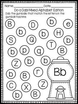 alphabet letter identification bingo dauber activities
