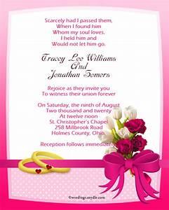 Christian wedding invitation wording samples wordings for Wedding invitation quotes in english for sister marriage