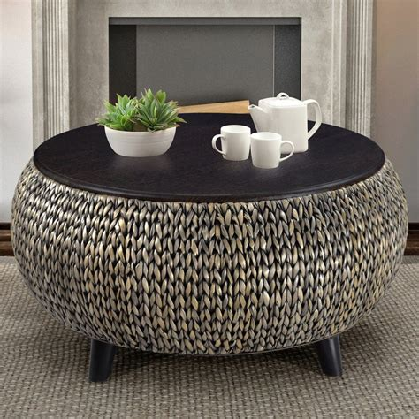Round Coffee Oval Coffee Table With Storage Wicker
