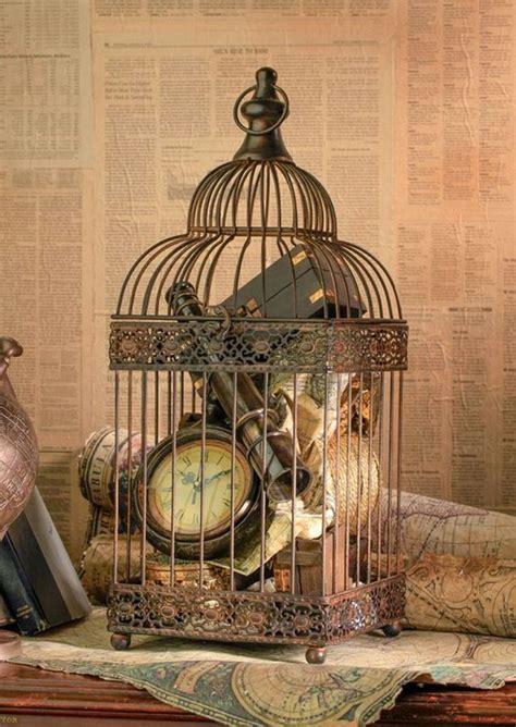 ideas para conseguir una decoración vintage con jaulas pajareras