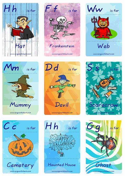 halloween esl printable english flash cards worksheets