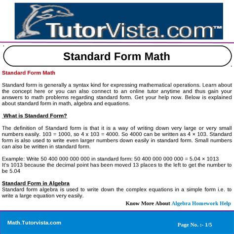 standard form math by tutorvista team issuu