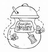 Honey Coloring Jar Sweet Pot Pages Party Bee Eve Years Pooh Drawing Cartoon Bear Print Printable Drawings Getcolorings Designlooter Open sketch template