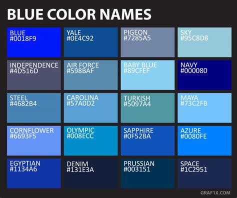 List of Colors with Color Names – graf1x.com