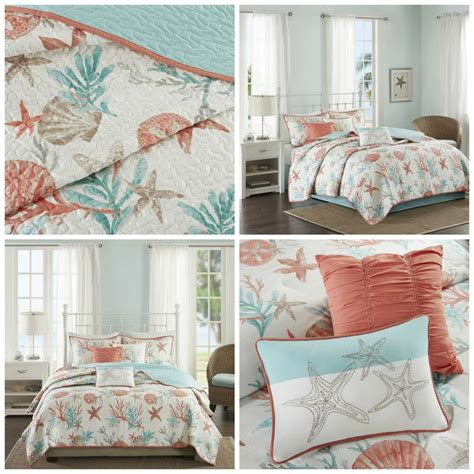 Coastal Coverlet by Coral Blue Coastal Starfish Quilted Coverlet 6