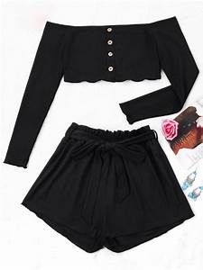 Ribbed Crop Top And Wide Leg Shorts BLACK: Two-Piece ...