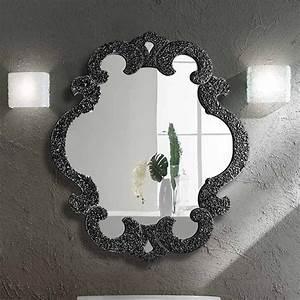 Miroir Cadre Noir : miroir salle de bain 98x85 cm sophie granit noir ~ Teatrodelosmanantiales.com Idées de Décoration