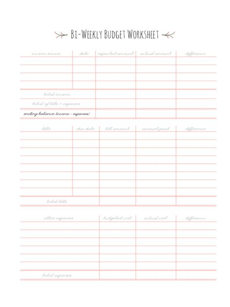 bi weekly budget template   templates   word