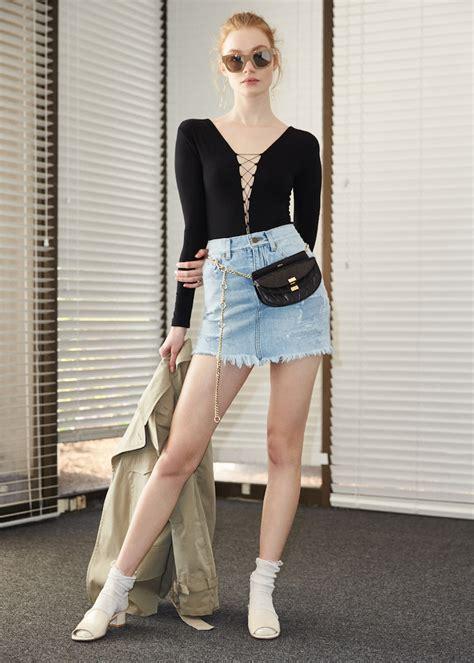denim skirt mini lookbook laurent elyse walker saint forward nawo repaired belt bodysuit diane wang alexander lace