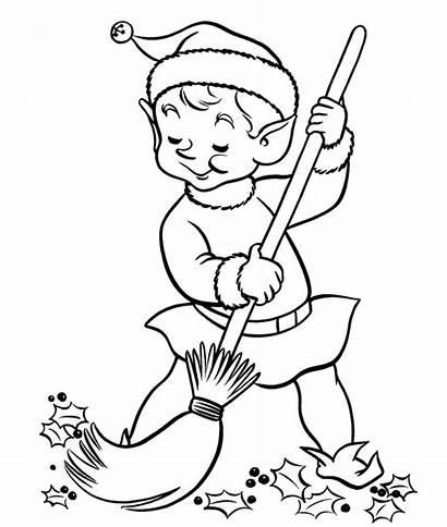 Coloring Pages Elf Shelf Cleaning Christmas Own