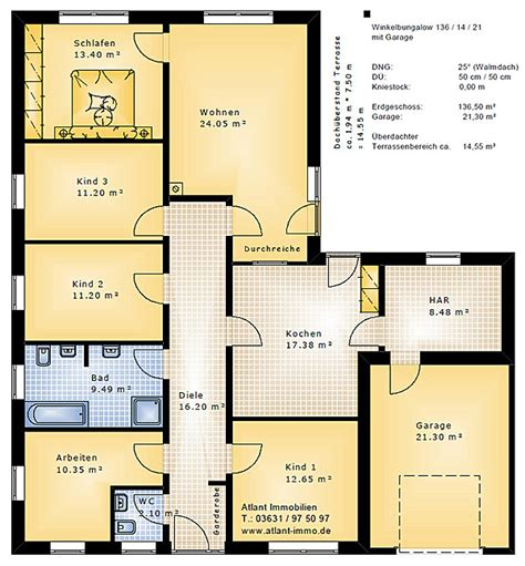 winkelbungalow 136 14 21 mit garage einfamilienhaus neubau massivbau stein auf stein