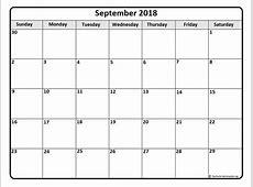 September 2018 calendar * September 2018 calendar printable
