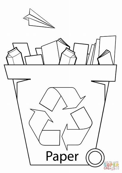 Recycling Bin Coloring Pages Paper Printable Drawing