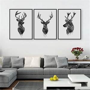 Triptych, Original, Watercolor, Deer, Head, Animals, A4, Art, Print, Poster, Wall, Pictures, Living, Room