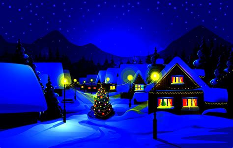 Wallpaper New Year Winter 3d Graphics Snow Night Time