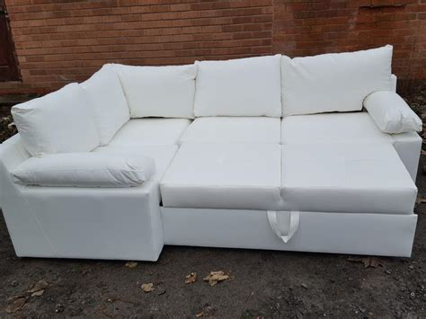 Brand New White Leather Corner Sofa Bed With Storage.can