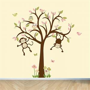 Monkey wall decals nursery wall decals girl tree wall decal for Monkey wall decals
