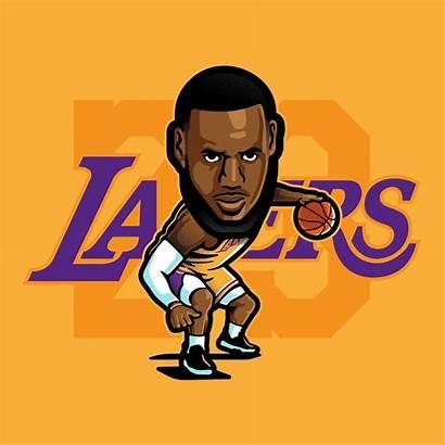 Lebron James Lakers Cartoon Basketball Drawing King