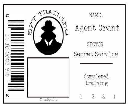 secret agent badge     alphabettical order