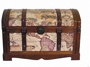 Victorian Old World Map Medium Wood Storage Trunk Wooden Chest