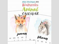 Free Printable 2018 Watercolor Animal Calendar The