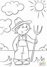 Cartoon Farmer Coloring Drawing Pages Pitchfork Farm Printable Drawings Paintingvalley sketch template