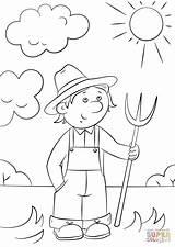 Pitchfork Farmer Cartoon Coloring Template Sketch Zawody Drukuj sketch template