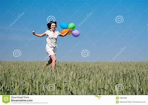 Woman Running On The Wheat Field Royalty Free Stock Photos ...