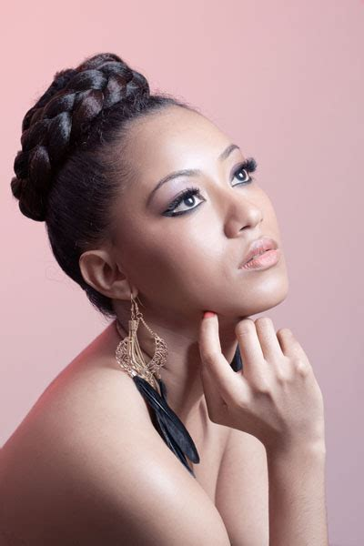 Hairstyles For Heads by Braid Wrapped Bun On Top Of Hairstyle