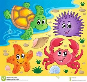 Beach With Shells And Sea Animals 2 Cartoon Vector ...