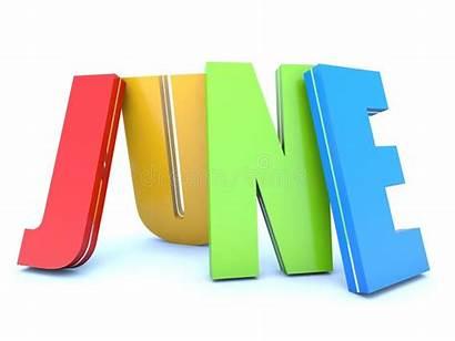 June Month Calendar Letters Colored Background Illustration