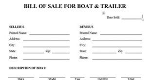 Blank Bill Of Sale For Boat And Trailer by Boat Bill Of Sale Form