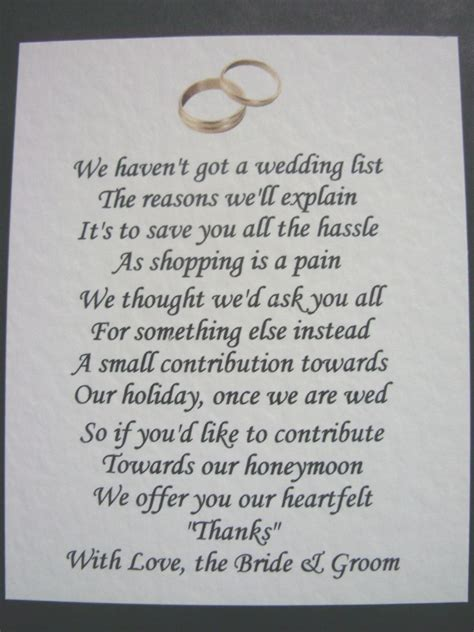 wedding poems   money gifts  presents ref