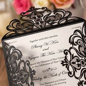affordable shiny black laser cut wedding invitations With black and gold laser cut wedding invitations
