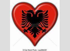 Clipart de bouton, forme coeur, drapeau, albanais