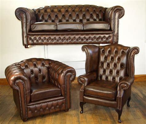 Chesterfield Leather Sofa Sale by Chesterfield Leather Sofa Suite Chair Brand New Sale Ebay