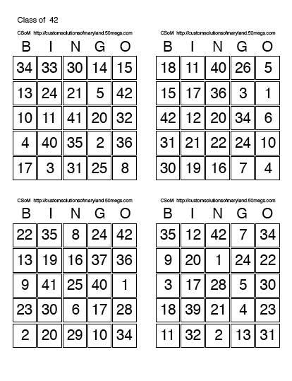 bingo  cards  page print number bingo