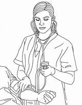 Nurse Coloring Pages Blood Pressure Taking sketch template
