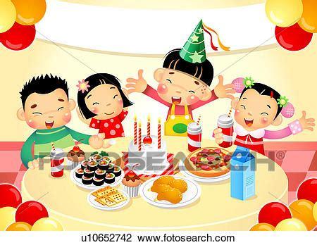 clipart compleanno bambini clip bambini a festa compleanno u10652742 cerca