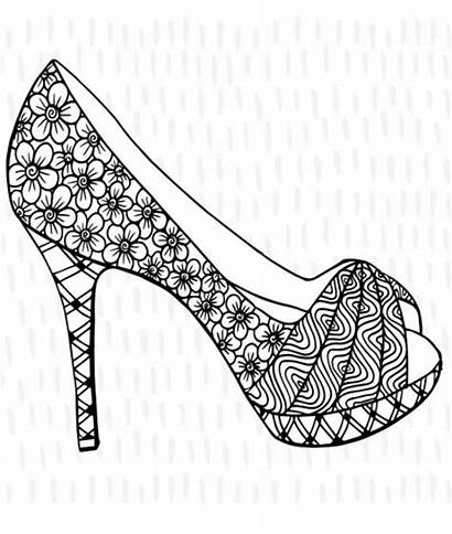 Coloring Pages Shoes Heel Shoe Colouring Adult