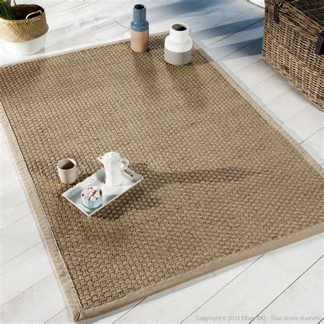 jonc de mer cuisine tapis jonc de mer tissage large avec ganse en coton millstone beige 160x230cm