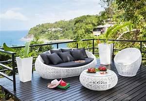 Canapé Jardin Pas Cher : canap de jardin 3 places durban en r sine tress e blanc ~ Premium-room.com Idées de Décoration