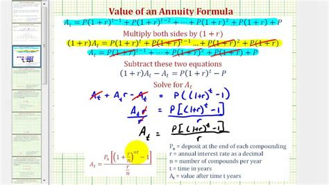 derive     annuity formula compounded