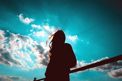 picture sky air light sun silhouette fence girl