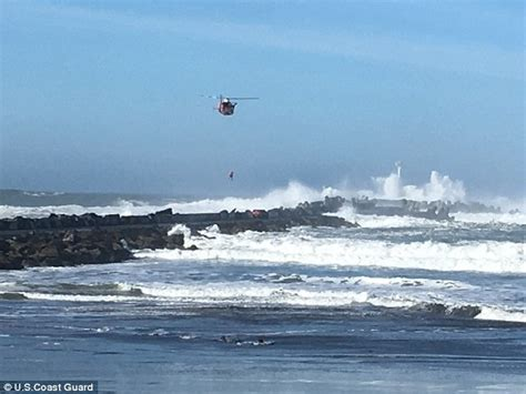 Boat Driving Into Helicopter by Us Coast Guard Rescues Stranded Driver From Jetty Daily