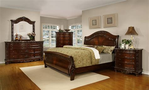 oasis home patterson sleigh bedroom set  rich pecan