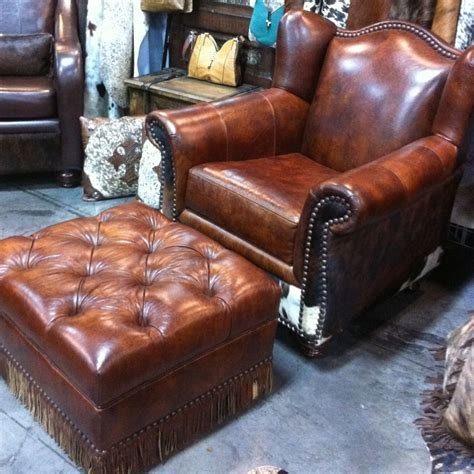 western chair ottoman w cowhide leather ebay