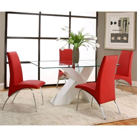mensa white base dining room set  red chairs cramco