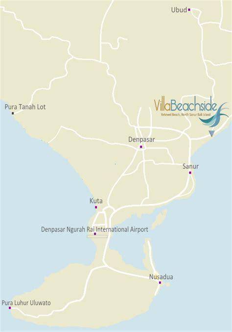 villa beachside map north sanur bali island